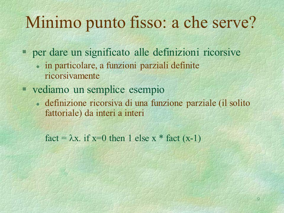 9 Minimo punto fisso: a che serve? §per dare un significato alle definizioni ricorsive l in particolare, a funzioni parziali definite ricorsivamente §