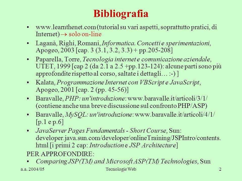 a.a. 2004/05Tecnologie Web2 www.learnthenet.com (tutorial su vari aspetti, soprattutto pratici, di Internet)  solo on-line Laganà, Righi, Romani, Inf