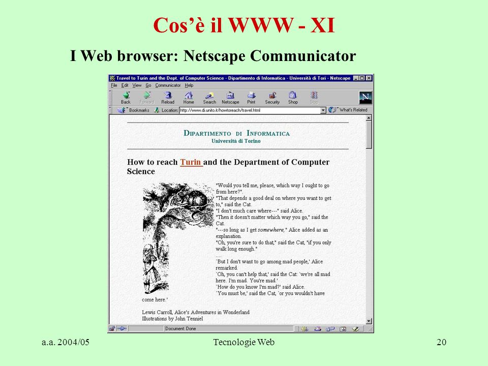a.a. 2004/05Tecnologie Web20 Cos'è il WWW - XI I Web browser: Netscape Communicator