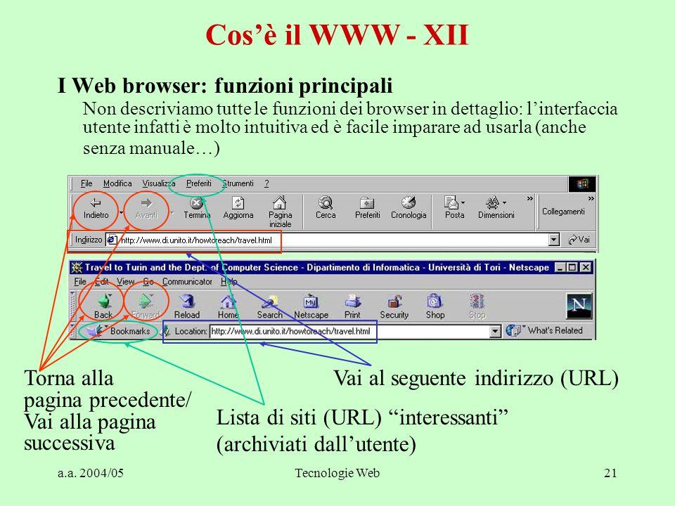 a.a. 2004/05Tecnologie Web21 Cos'è il WWW - XII I Web browser: funzioni principali Non descriviamo tutte le funzioni dei browser in dettaglio: l'inter