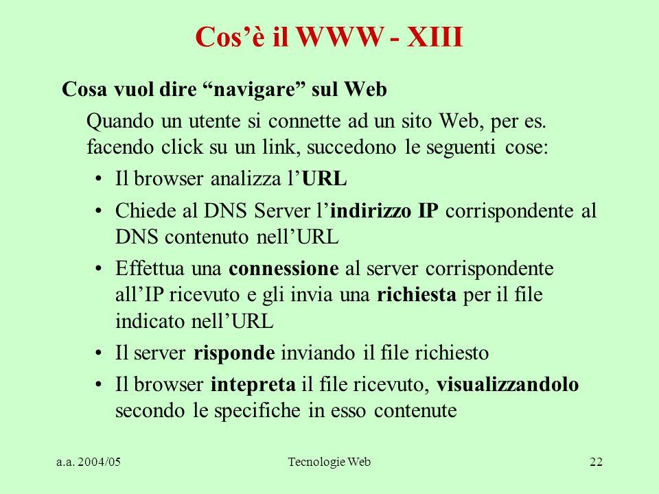 """a.a. 2004/05Tecnologie Web22 Cosa vuol dire """"navigare"""" sul Web Quando un utente si connette ad un sito Web, per es. facendo click su un link, succedon"""