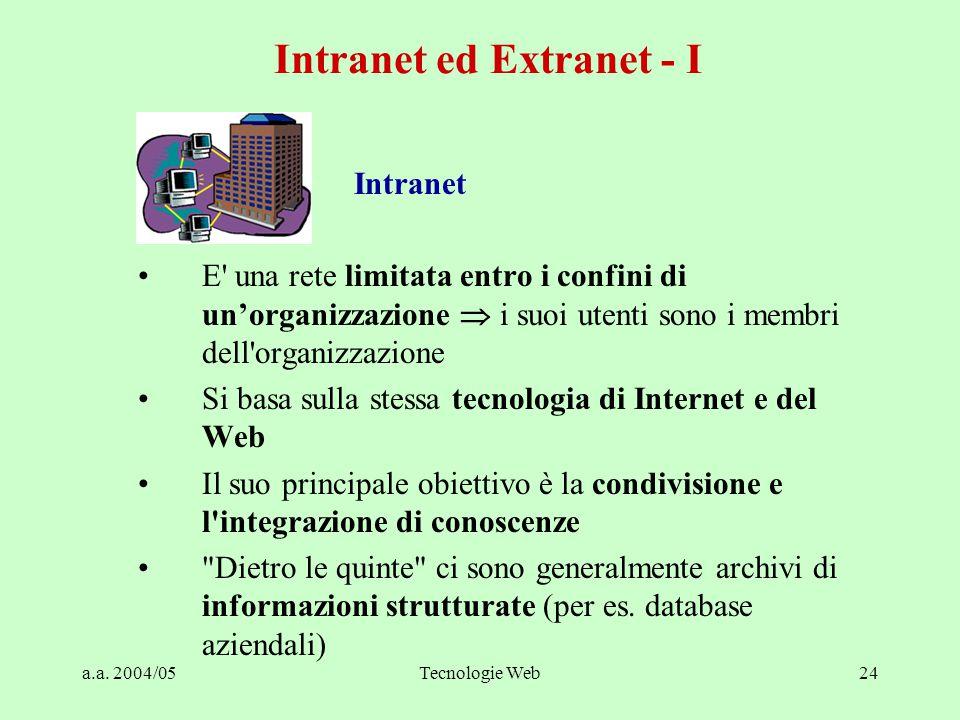 a.a. 2004/05Tecnologie Web24 Intranet E' una rete limitata entro i confini di un'organizzazione  i suoi utenti sono i membri dell'organizzazione Si b