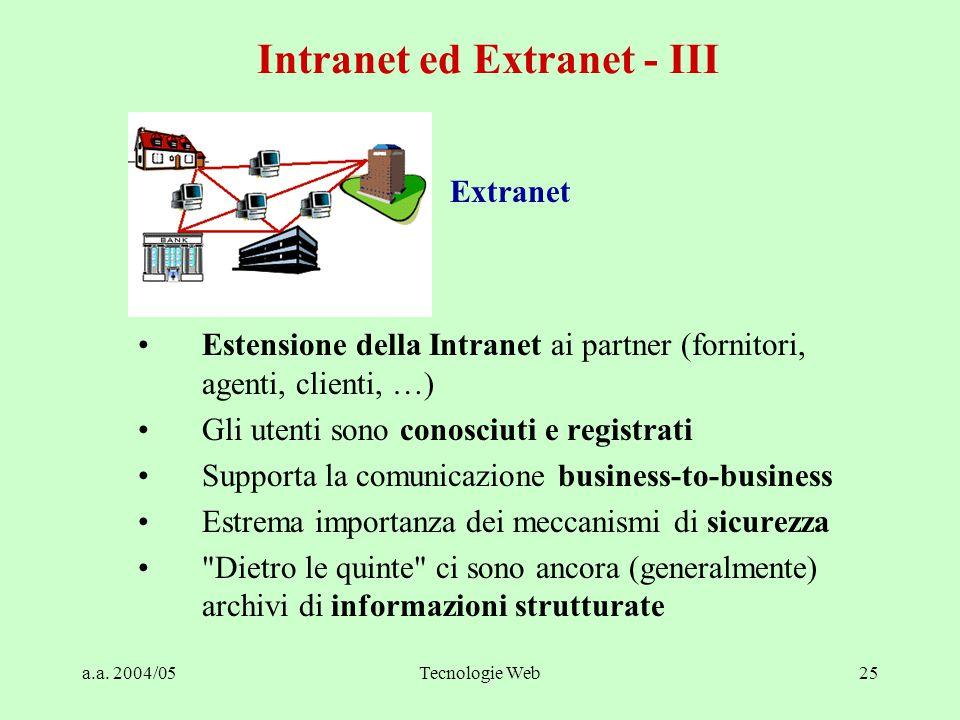 a.a. 2004/05Tecnologie Web25 Extranet Estensione della Intranet ai partner (fornitori, agenti, clienti, …) Gli utenti sono conosciuti e registrati Sup