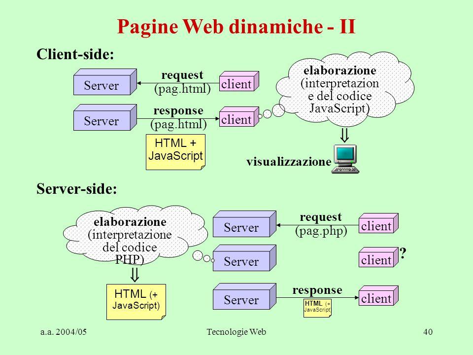 a.a. 2004/05Tecnologie Web40 Client-side: Server-side: Pagine Web dinamiche - II Server client request (pag.html) Server client response (pag.html) HT