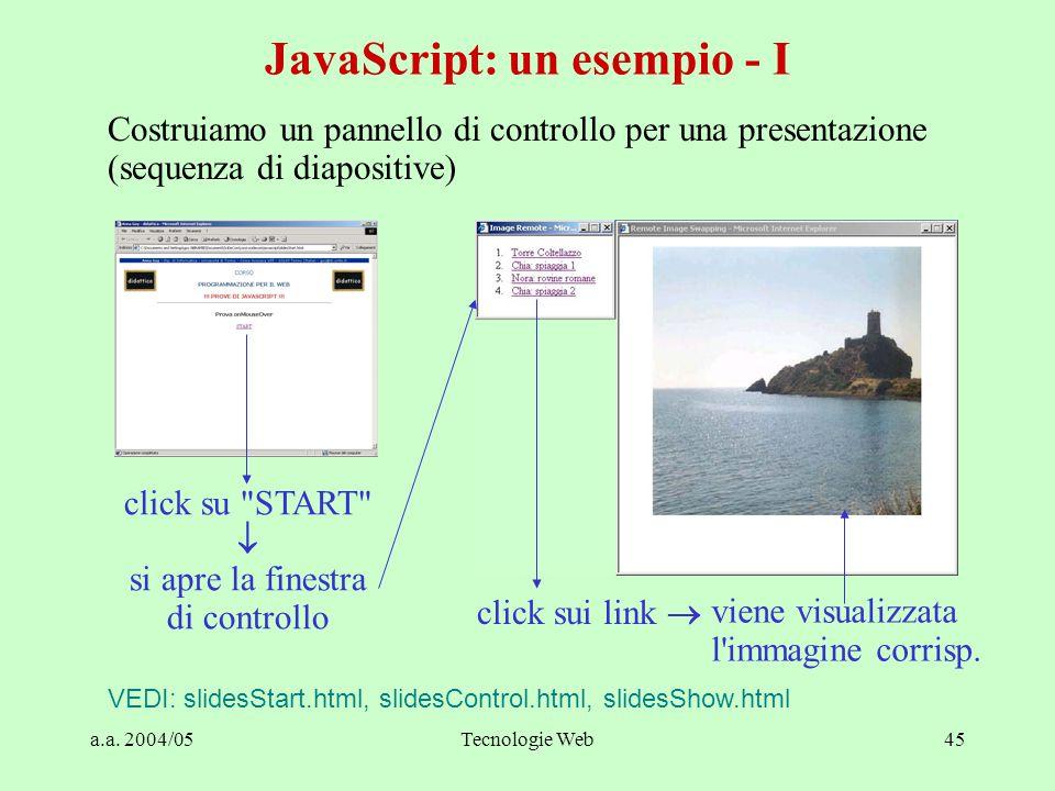 a.a. 2004/05Tecnologie Web45 Costruiamo un pannello di controllo per una presentazione (sequenza di diapositive) JavaScript: un esempio - I VEDI: slid