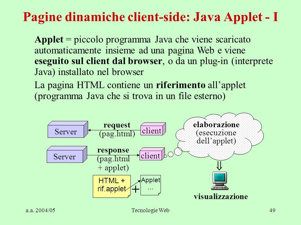 a.a. 2004/05Tecnologie Web49 Pagine dinamiche client-side: Java Applet - I Applet = piccolo programma Java che viene scaricato automaticamente insieme