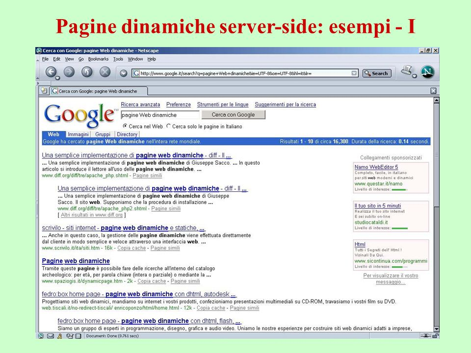 a.a. 2004/05Tecnologie Web52 Pagine dinamiche server-side: esempi - I
