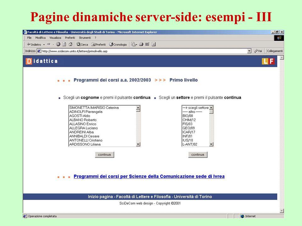 a.a. 2004/05Tecnologie Web54 Pagine dinamiche server-side: esempi - III