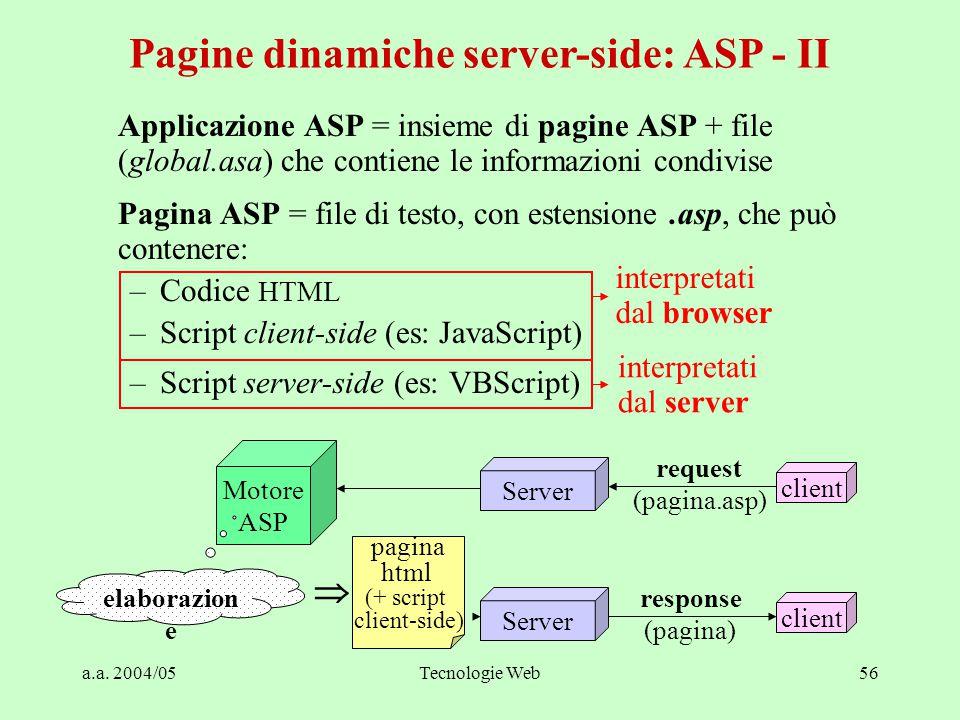 a.a. 2004/05Tecnologie Web56 Applicazione ASP = insieme di pagine ASP + file (global.asa) che contiene le informazioni condivise Pagina ASP = file di