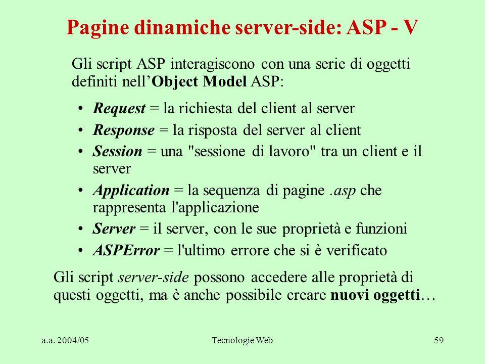 a.a. 2004/05Tecnologie Web59 Pagine dinamiche server-side: ASP - V Gli script ASP interagiscono con una serie di oggetti definiti nell'Object Model AS