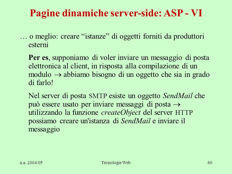 """a.a. 2004/05Tecnologie Web60 Pagine dinamiche server-side: ASP - VI … o meglio: creare """"istanze"""" di oggetti forniti da produttori esterni Per es, supp"""