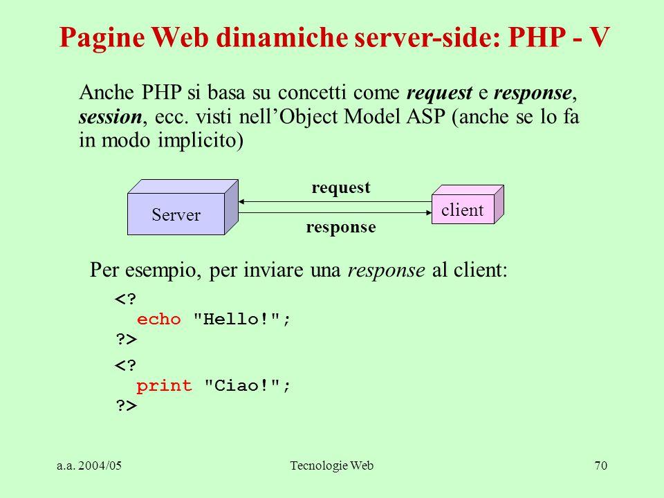 a.a. 2004/05Tecnologie Web70 Per esempio, per inviare una response al client: <.