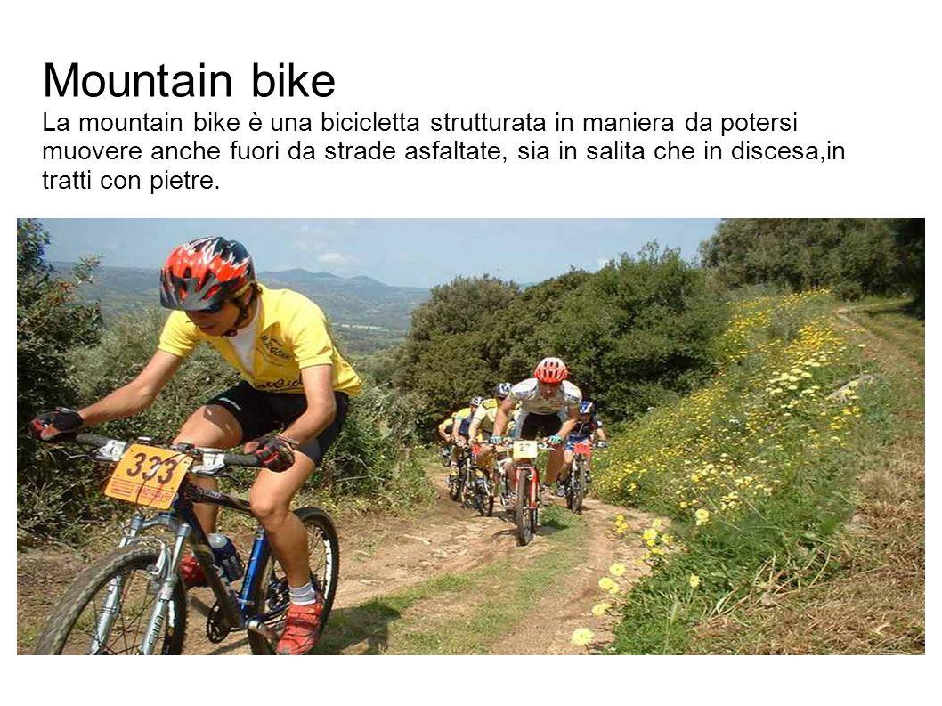 Mountain bike La mountain bike è una bicicletta strutturata in maniera da potersi muovere anche fuori da strade asfaltate, sia in salita che in discesa,in tratti con pietre.