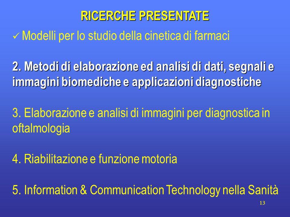 13 RICERCHE PRESENTATE Modelli per lo studio della cinetica di farmaci 2.