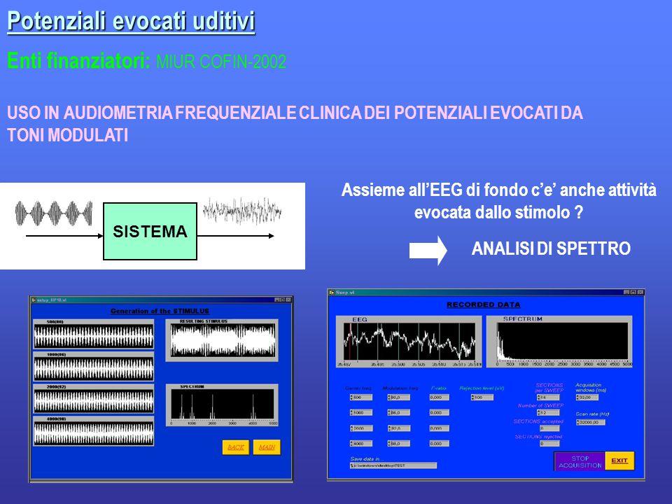 18 Enti finanziatori: MIUR COFIN-2002 Potenziali evocati uditivi USO IN AUDIOMETRIA FREQUENZIALE CLINICA DEI POTENZIALI EVOCATI DA TONI MODULATI ANALISI DI SPETTRO SISTEMA Assieme all'EEG di fondo c'e' anche attività evocata dallo stimolo