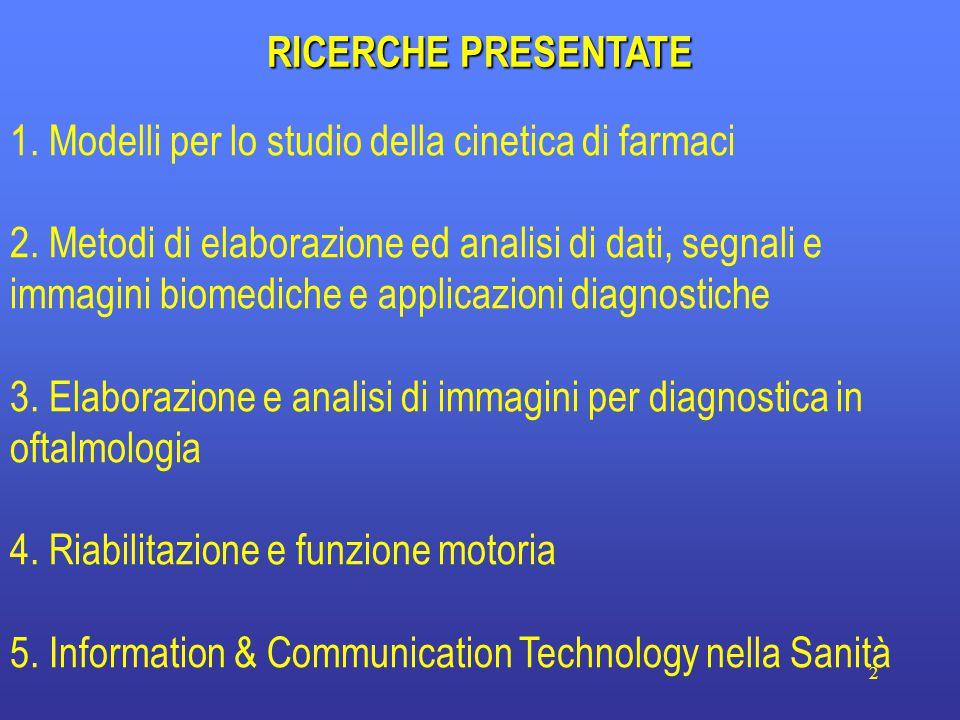 2 RICERCHE PRESENTATE 1. Modelli per lo studio della cinetica di farmaci 2.