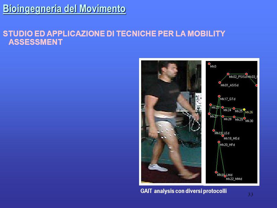 33 STUDIO ED APPLICAZIONE DI TECNICHE PER LA MOBILITY ASSESSMENT GAIT analysis con diversi protocolli Bioingegneria del Movimento