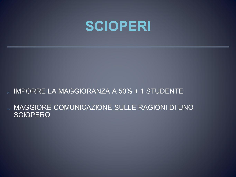SCIOPERI ✤ IMPORRE LA MAGGIORANZA A 50% + 1 STUDENTE ✤ MAGGIORE COMUNICAZIONE SULLE RAGIONI DI UNO SCIOPERO