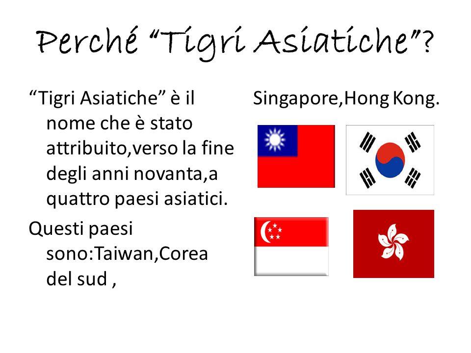 """Perché """"Tigri Asiatiche""""? """"Tigri Asiatiche"""" è il nome che è stato attribuito,verso la fine degli anni novanta,a quattro paesi asiatici. Questi paesi s"""