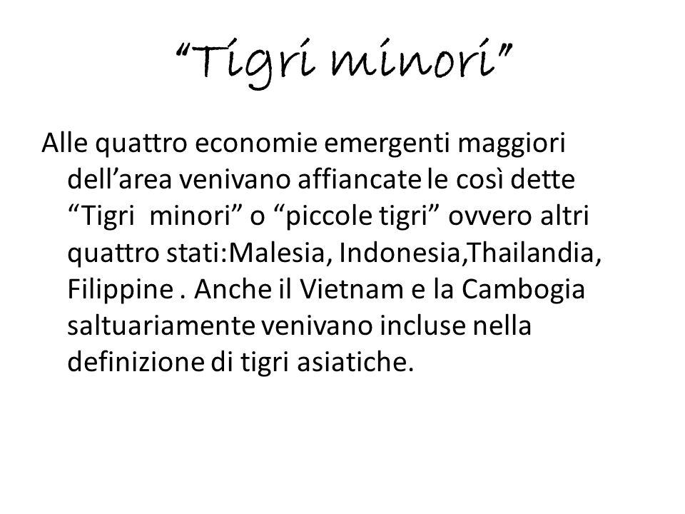 """""""Tigri minori"""" Alle quattro economie emergenti maggiori dell'area venivano affiancate le così dette """"Tigri minori"""" o """"piccole tigri"""" ovvero altri quat"""
