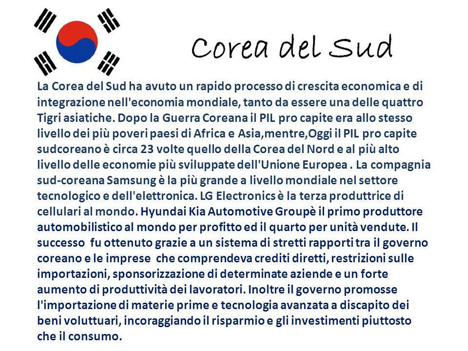 Corea del Sud La Corea del Sud ha avuto un rapido processo di crescita economica e di integrazione nell economia mondiale, tanto da essere una delle quattro Tigri asiatiche.