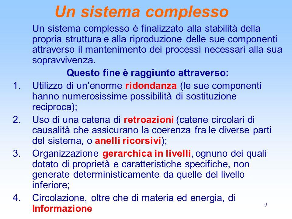 9 Un sistema complesso Un sistema complesso è finalizzato alla stabilità della propria struttura e alla riproduzione delle sue componenti attraverso il mantenimento dei processi necessari alla sua sopravvivenza.