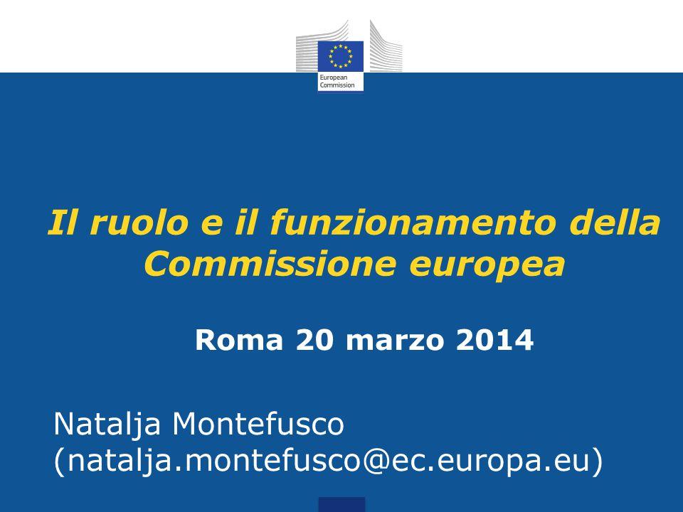 Il ruolo e il funzionamento della Commissione europea Roma 20 marzo 2014 Natalja Montefusco (natalja.montefusco@ec.europa.eu)