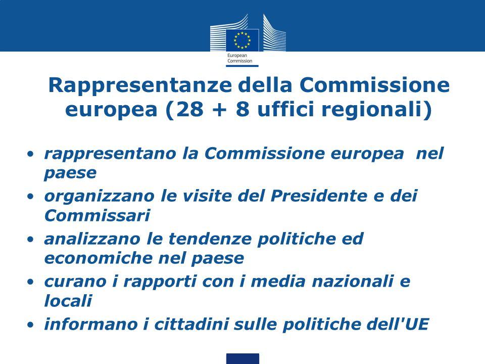 Rappresentanze della Commissione europea (28 + 8 uffici regionali) rappresentano la Commissione europea nel paese organizzano le visite del Presidente e dei Commissari analizzano le tendenze politiche ed economiche nel paese curano i rapporti con i media nazionali e locali informano i cittadini sulle politiche dell UE