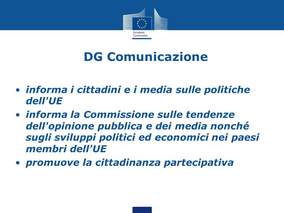 DG Comunicazione informa i cittadini e i media sulle politiche dell UE informa la Commissione sulle tendenze dell opinione pubblica e dei media nonché sugli sviluppi politici ed economici nei paesi membri dell UE promuove la cittadinanza partecipativa