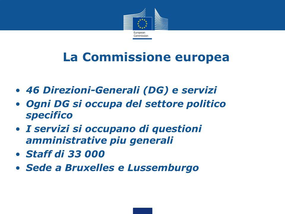 La Commissione europea 46 Direzioni-Generali (DG) e servizi Ogni DG si occupa del settore politico specifico I servizi si occupano di questioni amministrative piu generali Staff di 33 000 Sede a Bruxelles e Lussemburgo