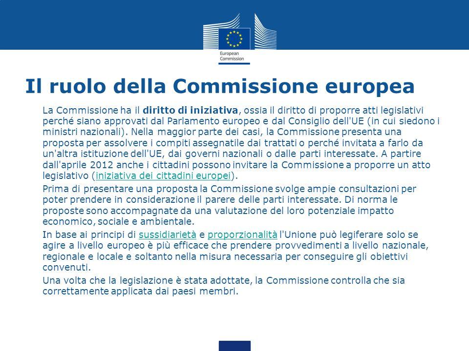 Il ruolo della Commissione europea La Commissione ha il diritto di iniziativa, ossia il diritto di proporre atti legislativi perché siano approvati da