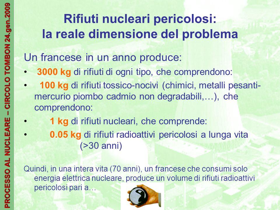 PROCESSO AL NUCLEARE – CIRCOLO TOMBON 24.gen.2009 Rifiuti nucleari pericolosi: la reale dimensione del problema Un francese in un anno produce: 3000 kg di rifiuti di ogni tipo, che comprendono: 100 kg di rifiuti tossico-nocivi (chimici, metalli pesanti- mercurio piombo cadmio non degradabili,…), che comprendono: 1 kg di rifiuti nucleari, che comprende: 0.05 kg di rifiuti radioattivi pericolosi a lunga vita (>30 anni) Quindi, in una intera vita (70 anni), un francese che consumi solo energia elettrica nucleare, produce un volume di rifiuti radioattivi pericolosi pari a…