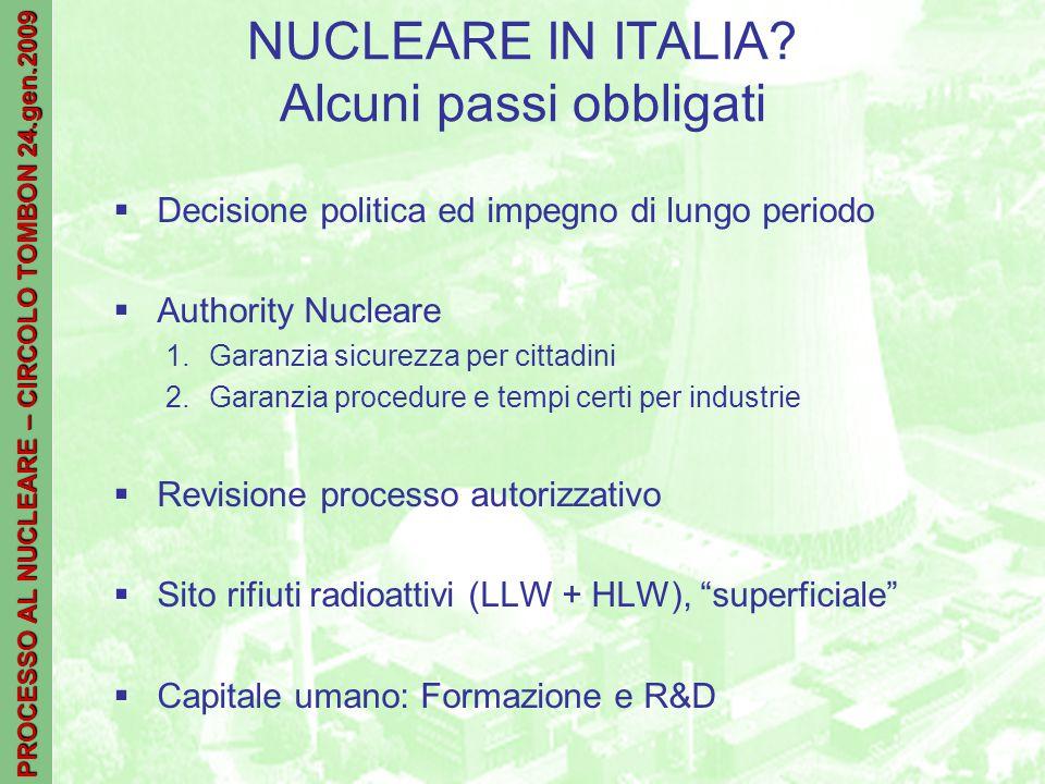 PROCESSO AL NUCLEARE – CIRCOLO TOMBON 24.gen.2009 NUCLEARE IN ITALIA.