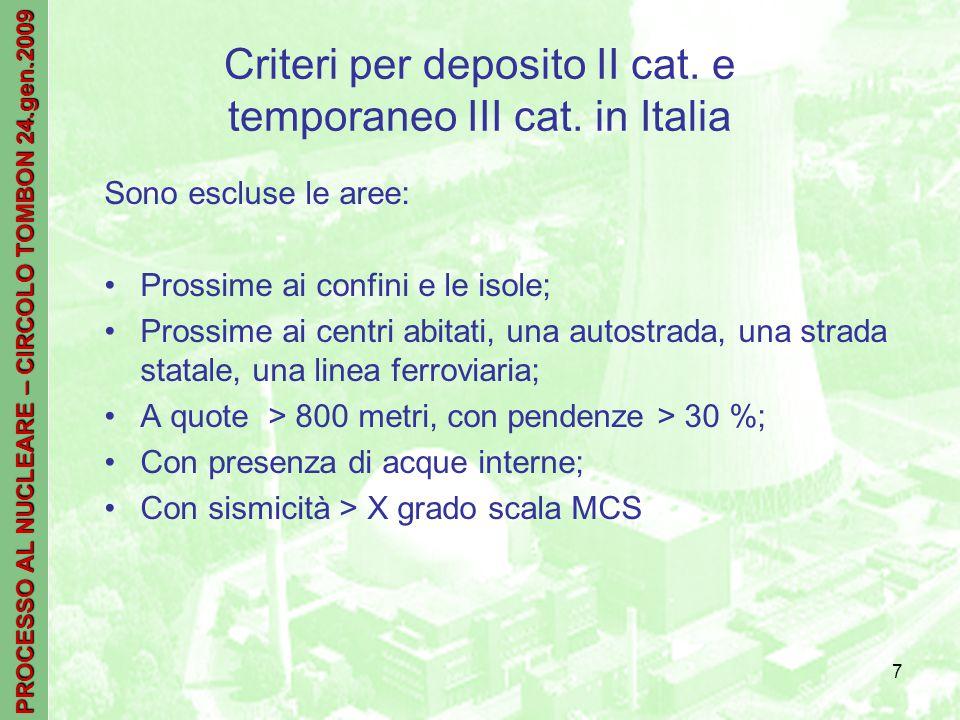 PROCESSO AL NUCLEARE – CIRCOLO TOMBON 24.gen.2009 7 Criteri per deposito II cat.