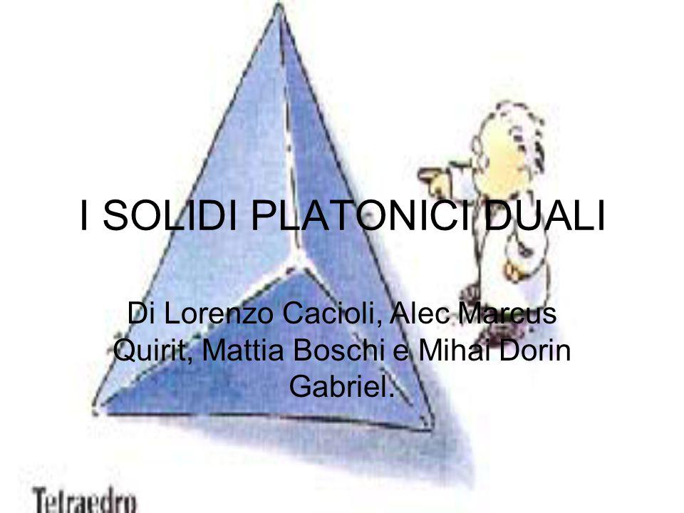 I SOLIDI PLATONICI DUALI Di Lorenzo Cacioli, Alec Marcus Quirit, Mattia Boschi e Mihai Dorin Gabriel.