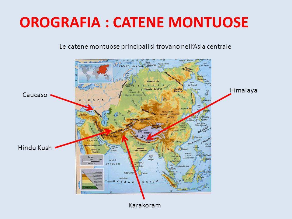 OROGRAFIA : CATENE MONTUOSE Le catene montuose principali si trovano nell'Asia centrale Caucaso Hindu Kush Himalaya Karakoram