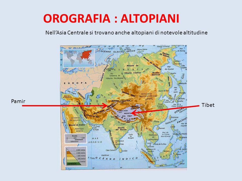 OROGRAFIA : ALTOPIANI Pamir Tibet Nell'Asia Centrale si trovano anche altopiani di notevole altitudine