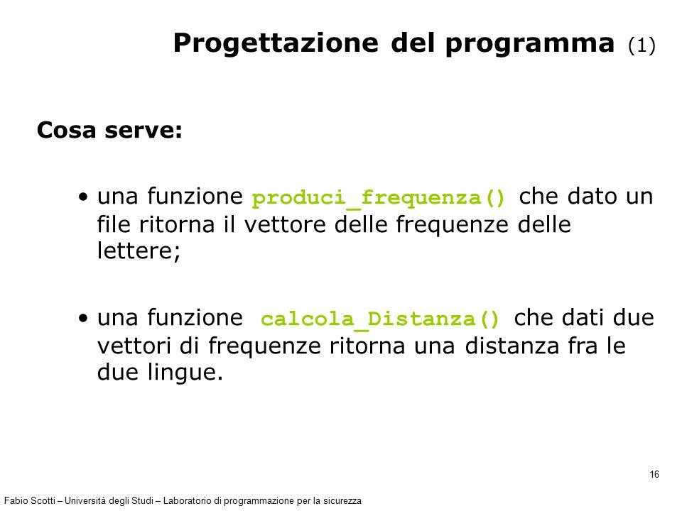 Fabio Scotti – Università degli Studi – Laboratorio di programmazione per la sicurezza 16 Progettazione del programma (1) Cosa serve: una funzione pro