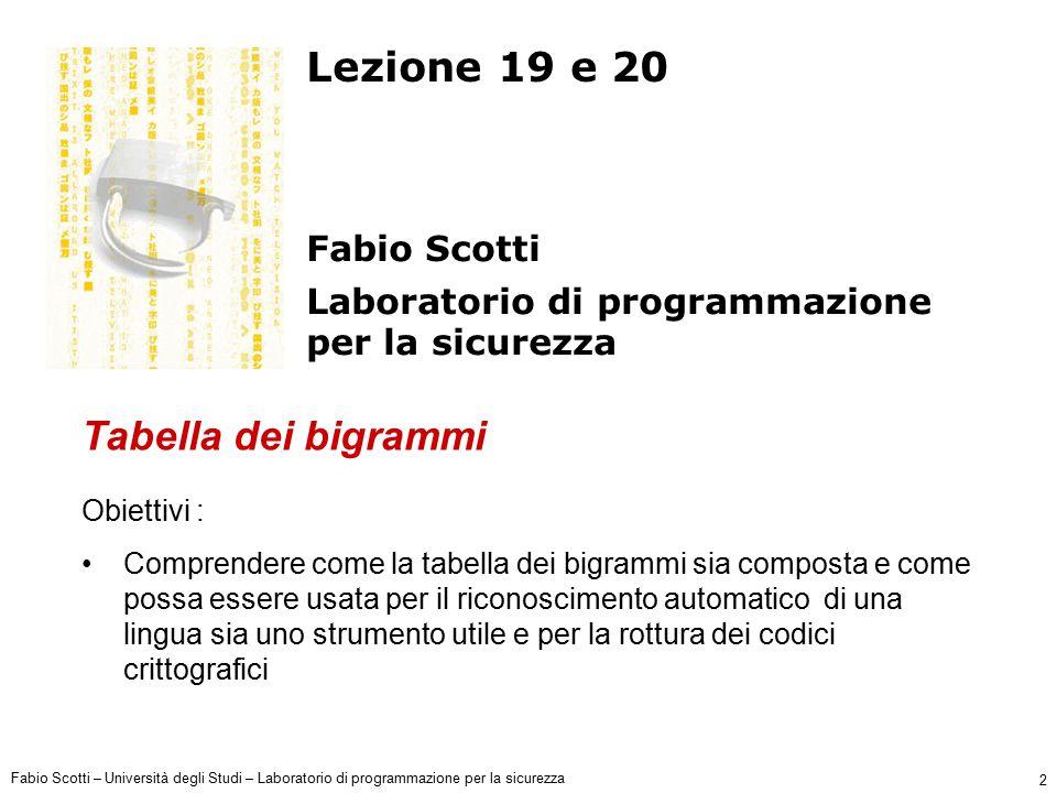 Fabio Scotti – Università degli Studi – Laboratorio di programmazione per la sicurezza 23 Esempio A A B B C C D D E E … PERCENTUALE DI OCCORRENZA (frequenza lettera) 10% 5% Lettere MESSAGGIO CRITTATO Chiave = 0 Z Z A B C D F E … 10% 5% Z P A Q B R C S D T E … 10% 5% Lettere O Z Chiave = 1 A B C D E Chiave = 15 ITALIANO