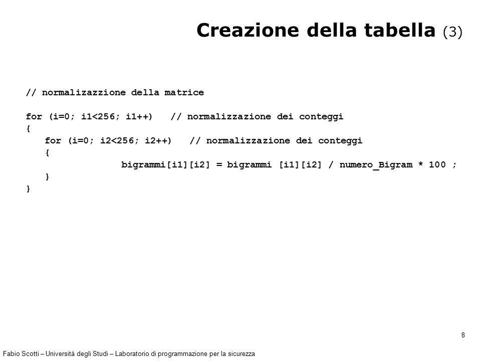 Fabio Scotti – Università degli Studi – Laboratorio di programmazione per la sicurezza 19 Programma riconoscimento (3) float calcola_Distanza(float frequenze_1[], float frequenze_2[], int lunghezza_alfabeto ) { float distanza; distanza = 0 ; // distanza euclidea (applico Pitagora in N dimensioni con N= lunghezza_alfabeto) for( i = 0; i < lunghezza_alfabeto ; i = i+1 ) { distanza = distanza + (frequenze_1[i]- frequenze_2[i])*(frequenze_1[i]- frequenze_2[i]); } distanza = sqrtf( distanza ); // sqrtf radice quadrata per float return distanza; }