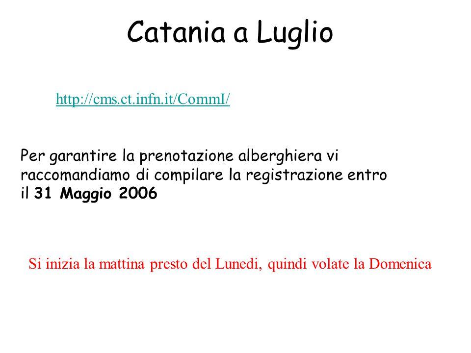 Catania a Luglio http://cms.ct.infn.it/CommI/ Per garantire la prenotazione alberghiera vi raccomandiamo di compilare la registrazione entro il 31 Maggio 2006 Si inizia la mattina presto del Lunedi, quindi volate la Domenica