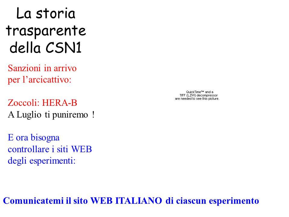 La storia trasparente della CSN1 Sanzioni in arrivo per l'arcicattivo: Zoccoli: HERA-B A Luglio ti puniremo .