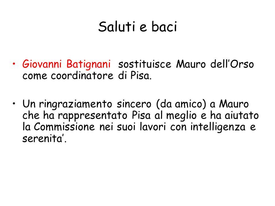 Saluti e baci Giovanni Batignani sostituisce Mauro dell'Orso come coordinatore di Pisa.