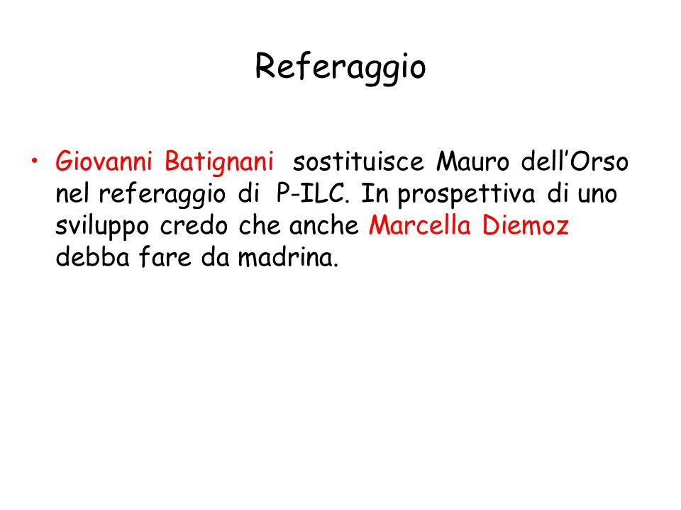 Referaggio Giovanni Batignani sostituisce Mauro dell'Orso nel referaggio di P-ILC.