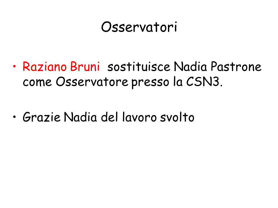 Osservatori Raziano Bruni sostituisce Nadia Pastrone come Osservatore presso la CSN3.