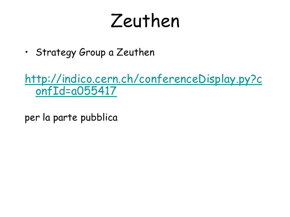 Zeuthen Strategy Group a Zeuthen http://indico.cern.ch/conferenceDisplay.py c onfId=a055417 per la parte pubblica