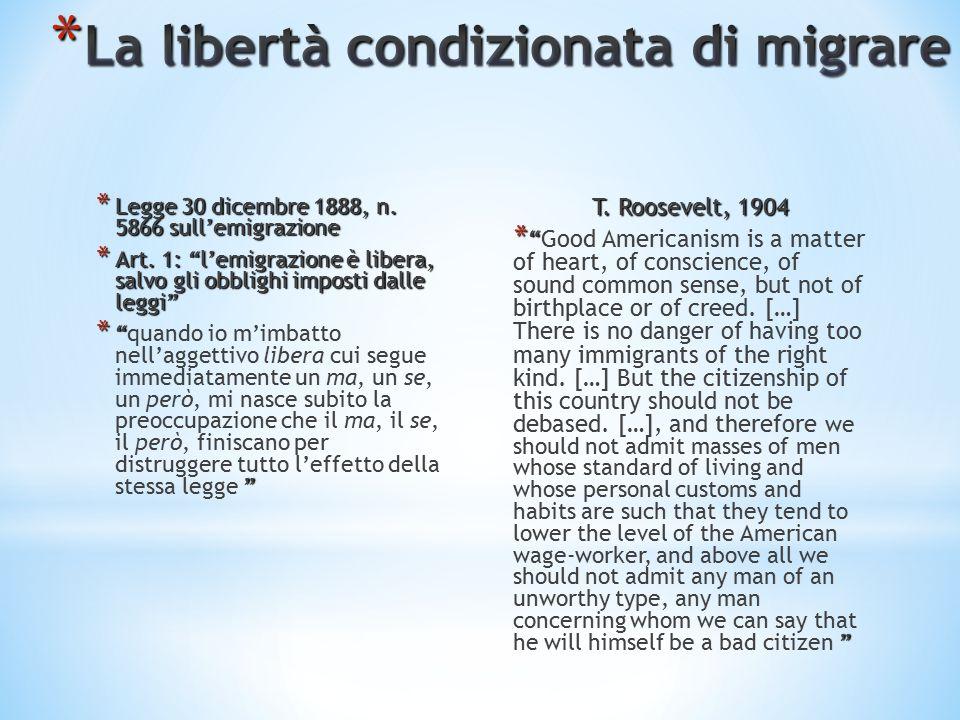 * Legge 30 dicembre 1888, n. 5866 sull'emigrazione * Art.