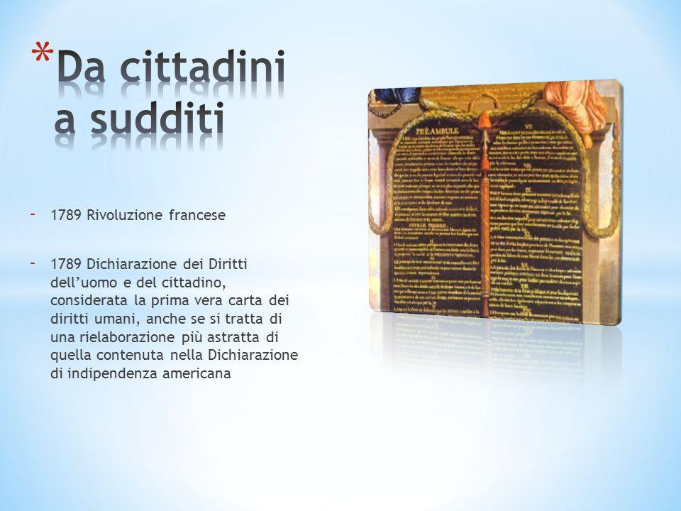 - 1789 Rivoluzione francese - 1789 Dichiarazione dei Diritti dell'uomo e del cittadino, considerata la prima vera carta dei diritti umani, anche se si tratta di una rielaborazione più astratta di quella contenuta nella Dichiarazione di indipendenza americana