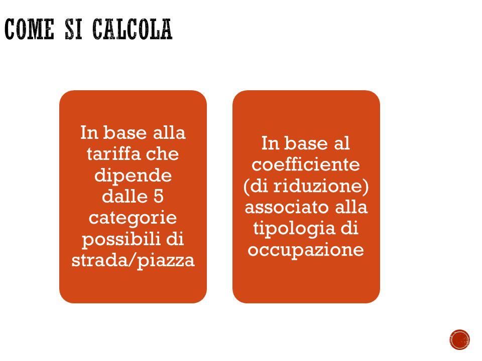 In base alla tariffa che dipende dalle 5 categorie possibili di strada/piazza In base al coefficiente (di riduzione) associato alla tipologia di occup