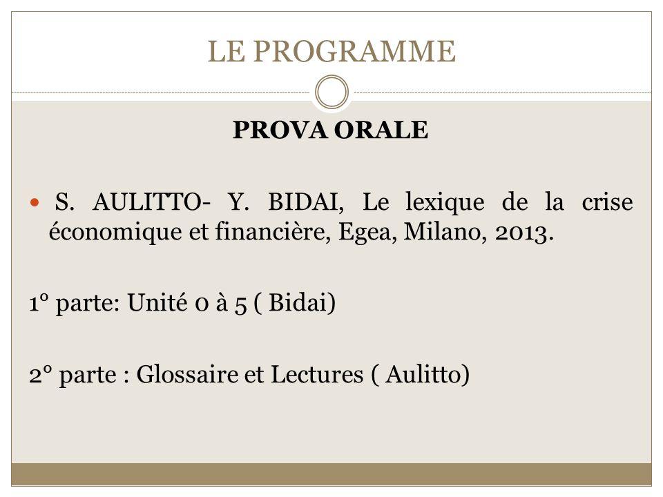 LE PROGRAMME PROVA ORALE S. AULITTO- Y.